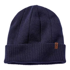 Men's Heathered Ribbed Beanie Azul obscuro