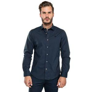 Men's Suncook River Long-Sleeve Poplin Gingham Shirt Azul obscuro