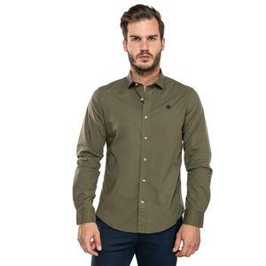Men's Suncook River Long-Sleeve Poplin Gingham Shirt Verde olivo