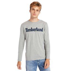 Timberland playera de manga larga de algodón orgánico para Hombre con logotipo lineal